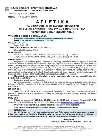 atletika - Savez školskih sportskih društava Primorsko