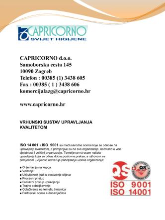 CAPRICORNO d.o.o. Samoborska cesta 145 10090