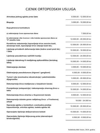 CJENIK ORTOPEDSKIH USLUGA - Ortopedija Bilić Vision u Zagrebu
