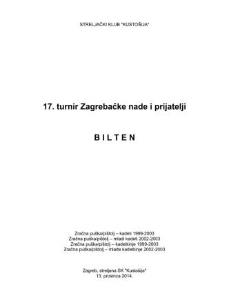 17. turnir Zagrebačke nade i prijatelji B I L T E N