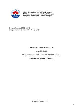Broj protokola:04-02-62/15 Broj javne nabavke:1171-1