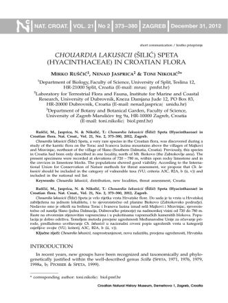 CHOUARDIA LAKUSICII ([ILI]) SPETA (HYACINTHACEAE) IN