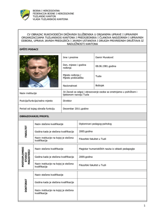Damir Muratović - Ministarstvo obrazovanja, nauke, kulture i sporta