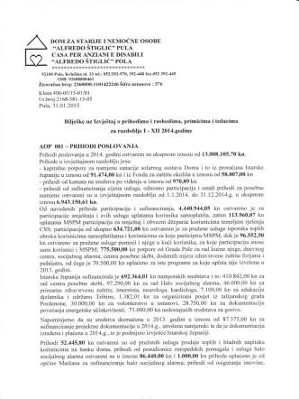 Bilješke uz financijske izvještaje za 2014.