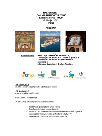 5. Nacionalni dan kulturnog turizma - Program
