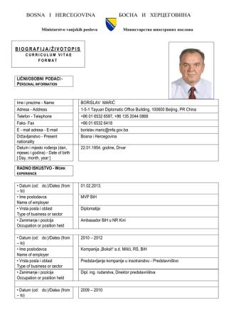Borislav Marić - Ministarstvo vanjskih poslova BiH