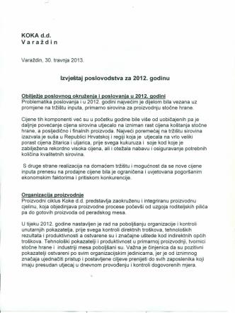 5. KOKA d.d. Izvještaj Poslovodstva za 2012. godinu