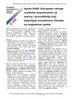 Upute EASE (Europske udruge urednika znanstvenih) za autore i
