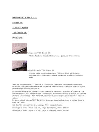 BITUMONT CPN d.o.o. Kruge 48 10000 Zagreb Tok