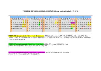AERO TVZ Kalendar nastave i ispita II. – VI. 2014.
