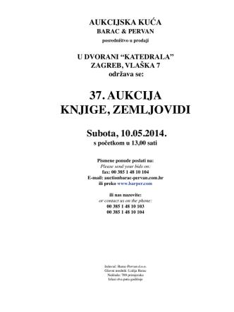 37. AUKCIJA KNJIGE, ZEMLJOVIDI - Barac & Pervan aukcijska kuća