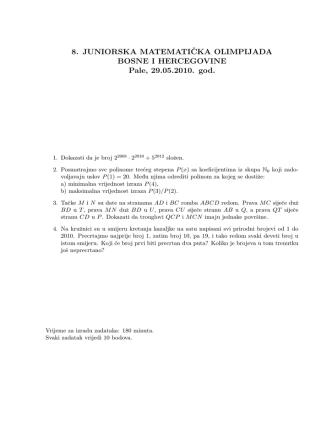 8. JUNIORSKA MATEMATICKA OLIMPIJADA BIH, Pale, 29.05.2010