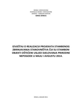 2. Izvještaj o realizaciji projekata stambenog zbrinjavanja