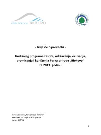 - Izvješće o provedbi - Godišnjeg programa zaštite, održavanja