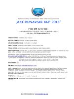 """""""XXI DUNAVSKI KUP 2013"""" PROPOZICIJE"""