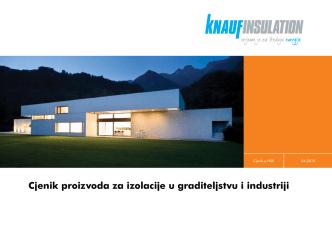Cjenik proizvoda za izolacije u graditeljstvu i industriji