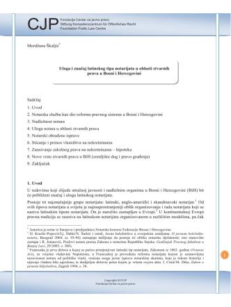 1 Merdžana Škaljić Sadržaj 1. Uvod 2. Notarska služba kao dio