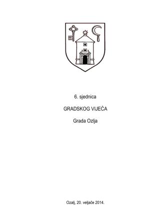 6. sjednica GRADSKOG VIJEĆA Grada Ozlja