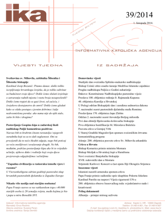 1. listopada 2014. Svetkovina sv. Mihovila, zaštitnika Šibenika i