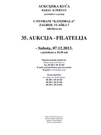 35. AUKCIJA -FILATELIJA - Barac & Pervan aukcijska kuća