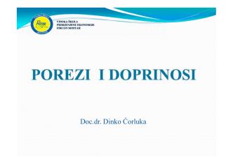 8 Porezi i doprinosiI - Fircon Visoka škola Mostar
