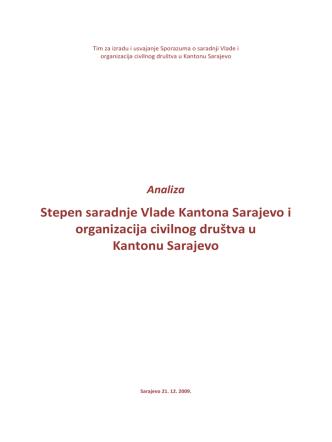 Analiza Stepen saradnje Vlade Kantona Sarajevo i organizacija