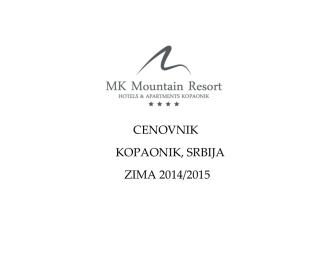 cenovnik kopaonik, srbija zima 2014/2015