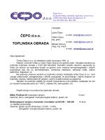 ČEPO d.o.o. TOPLINSKA OBRADA