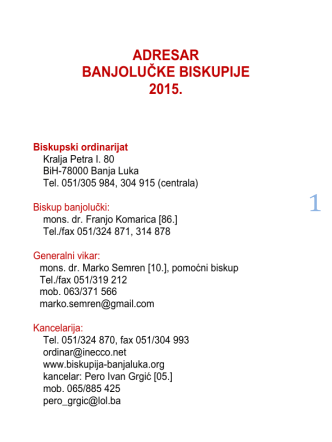 ADRESAR BANJOLUČKE BISKUPIJE 2015.