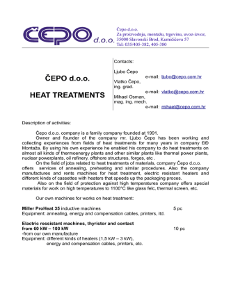 ČEPO d.o.o. HEAT TREATMENTS