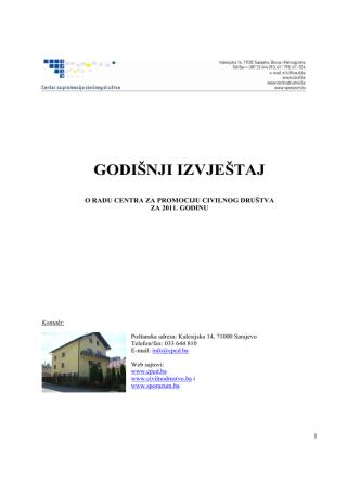 CPCD Godisnji izvjestaj 2011 - Resursni centar civilnog društva
