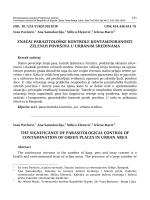 značaj parazitološke kontrole kontaminiranosti zelenih površina u