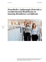 Pravilnik o izdavanju Potvrde o rezidentnosti/Rulebook on issuing