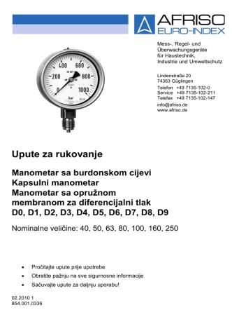 Bourdon tube / capsule type / spring