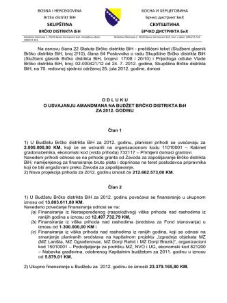 592.70. redovna sjednica - Odluka o usvajanju amandmana na