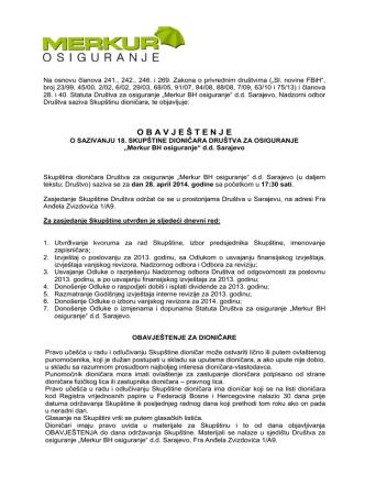 Auf Grundlage des Artikels 10 der Satzung der Merkur BH