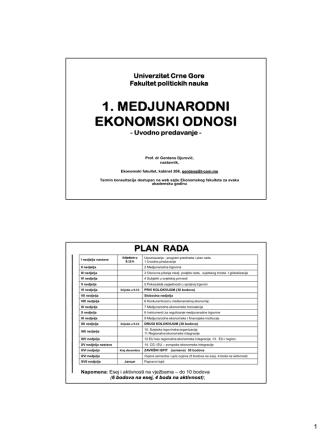 1 i 2 UVOD Medj trgovina 10 9 2014 prof Djurovic