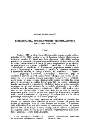 Bibliografija jugoslovenske orijentalistike 1961-62