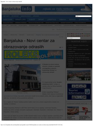Banjaluka - Novi centar za obrazovanje odraslih