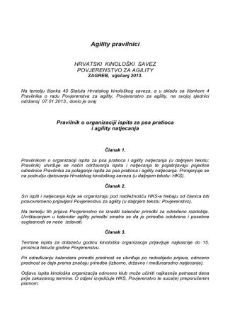 Agility pravilnici - Povjerenstvo za agility