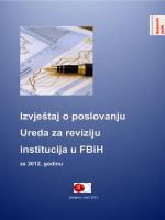 Izvještaj o poslovanju Ureda za reviziju institucija u FBiH