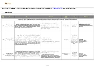 Akcijski plan za provođenje antikorupcijskog programa u Vjesniku