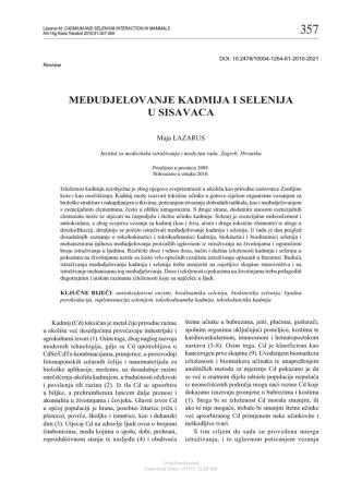 Cadmium and Selenium Interaction in Mammals