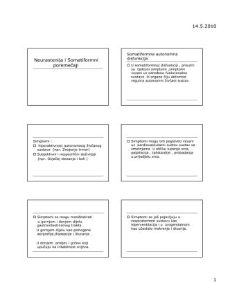 14.5.2010 1 Neurastenija i Somatiformni poremečaji