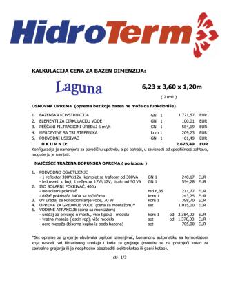 6,23 x 3,60 x 1,20m - Izgradnja Bazena Srbija