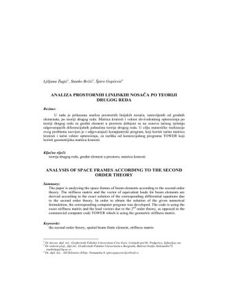 analiza prostornih linijskih nosača po teoriji drugog reda analysis of