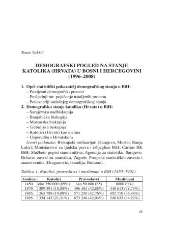 demografski pogled na stanje katolika (hrvata) u bosni i hercegovini