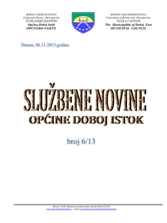 2 MB 6th Nov 2013 službene novine općine Doboj Istok broj 6-13