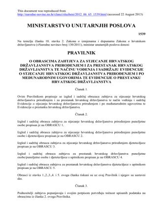 65 13.06.2012 Pravilnik o obrascima zahtjeva