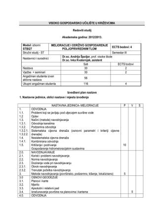 2012/2013. Modul: izborni STBI27 MELIORACIJE I ODR